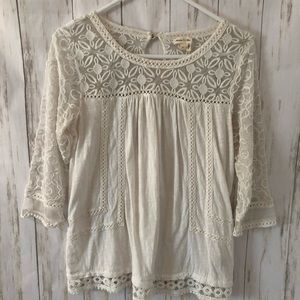 Anthropologie Meadow Rue Mantra Lace Tee White SM